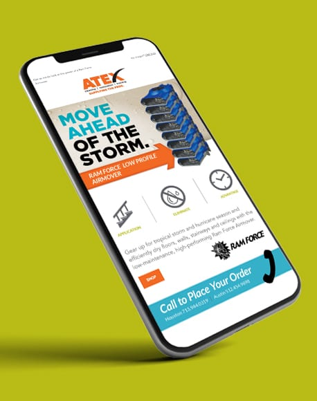 Atex Wholesale Supply eCommerce website optimized for mobile